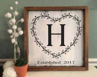 Initial Wedding Gift   Bridal Shower Gift   Couple Shower Gift   Monogram Established Sign   Farmhouse Style   Modern Farmhouse