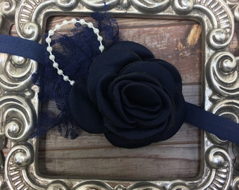 Navy blue headband, navy blue flower and lace on a soft headband with pearl accents, girls headband, soft headband, women's headband