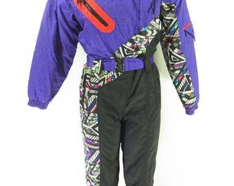Vintage 80s Ski Suit Womens 8 Retro Time Machine Abstract Skyr [H54L_2-4_Long]