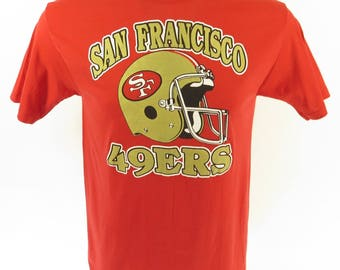 Vintage 80s San Francisco 49ers T-Shirt Mens L Deadstock NFL Football Trench [H65I_0-6]