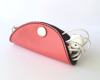 Cordelia Cord Wrap:  Two-tone leather wrap in Coral Pink and Slate Grey