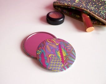 Bubblegum Pink Pocket Mirror, Girly Patterned Pocket Mirror, Gifts for Her, Colourful Pocket Mirror, Tropical Print Travel Mirror,