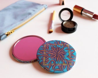 Turquoise Blue Pocket Mirror, Teal Compact Mirror, Blue Travel Mirror, Colourful Cosmetic Mirror,