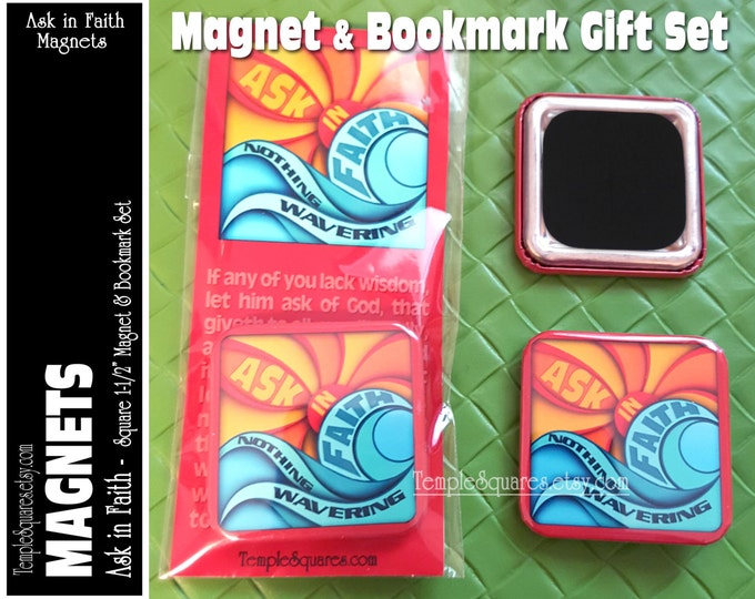 YW 2017 Theme Ask of God Ask in Faith Magnet and Bookmark Set Young Women Mutual Birthday, Christmas, New Beginnings Magnets Gift