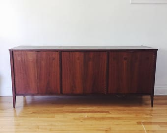 Mid Century Modern Credenza with Hutch .  Media Console . Danish Modern Sideboard