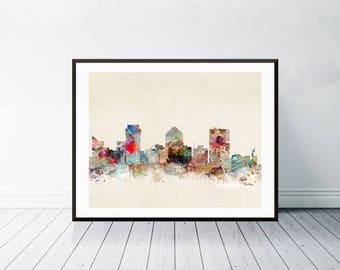 wichita kansas skyline . wichita city skyline. wichita cityscape. colorful watercolor skyline.Giclee art print.color your world with bri.