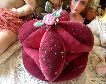 Vintage large stuffed pincushion pink burgundy velvet pin cushion big sewing notion supply