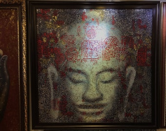 Buddha Luxury - Oil with Metallic Gold and Silver on Canvas 39X39''