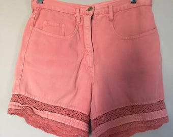 Early 90s Salmon Short Shorts High Waisted Lace Detail