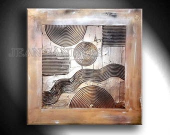 """31"""" x 31"""" abstract modern textured art painting by Jean Sanders*stretched on wooden frame, dopper, gold, silver"""