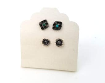 Petite Mix and Match Vintage Stud Earrings, Sterling and Turquoise Stud Earrings, Southwest Style Earrings, Simple Everyday Earrings
