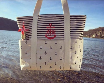 Monogram Anchor Canvas Beach Bag