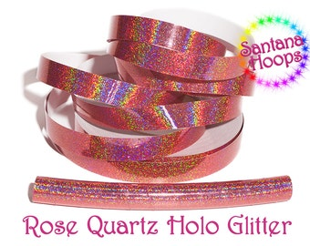 Rose Quartz Holographic Glitter Taped performance Hula Hoop Polypro or HDPE