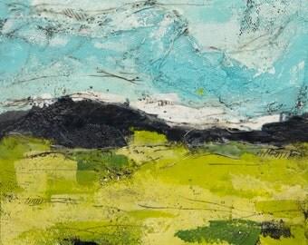 "Original Abstract Encaustic Landscape // ""Morning Commute 1"""