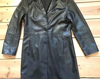LEATHER COAT black vintage 90s suoer soft size M-L