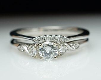 Vintage Antique Style Diamond Engagement Ring & Wedding Band Set Vintage Style White Gold Engagement Ring Round Diamond Bridal Set Petite