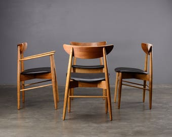 Set of 4 Dining Chairs Mid Century Modern Vintage Blonde Ash Walnut