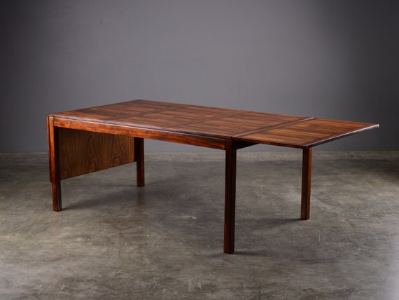 Large danish modern drop leaf dining table rosewood for Large drop leaf dining room tables