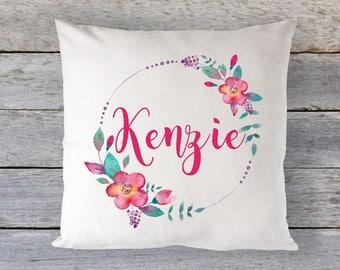 Personalized Flower Pillow, Flower PillowCase, Girls Flower Pillow, Personalized Girls Flower Pillowcase, Pillow, Girls Decor, RyElle