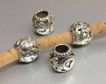 4 pieces - silver color beads for 5mm round leather - supplies leather (MB161)
