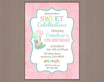 Candy Invitation, Sweet Party Invitation, Girls Party Invitation, Birthday Party Invitaiton, Sweet Shoppe, 1st, First, Printed, Digital