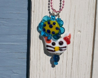 Handmade Lampwork Glass Bead Charm Kitty and Flower Necklace