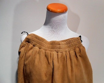 Vintage Vakko Buttery Soft Natural Lamb Suede Leather Skirt, Size Small, c. 1980