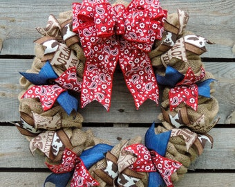 Rodeo - Cowboy Burlap Wreath