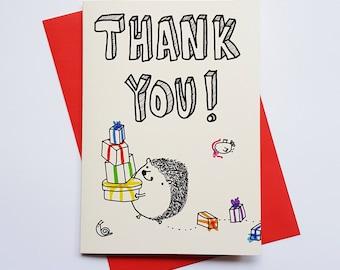 Thank you hedgehog card vintage style