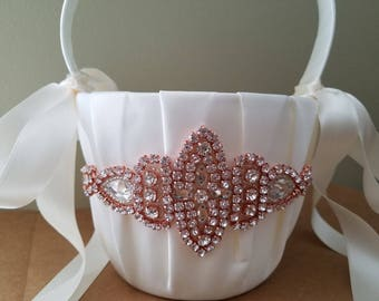 SALE - Wedding Flower Basket, Flower Girl Basket, Rhinestone Flower Basket  - with Rose Gold Details - Style BK1012RG