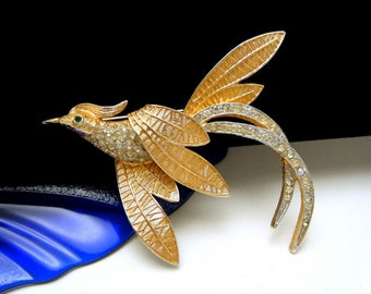 Corocraft Golden Enamel Bird Brooch Pave Set Rhinestones Beautiful Vintage