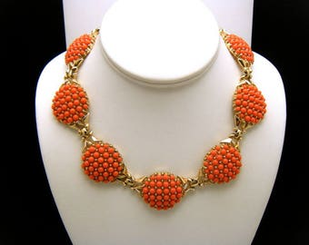Crown Trifari Vintage Necklace Coral Lucite Bead Cabochons Gold Tone Choker