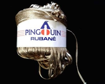 Pingouin Rubane flat polyamide yarn 50g gold color 14 thread
