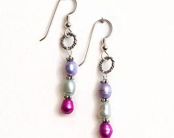 Tri-Color Fresh water pearls earrings