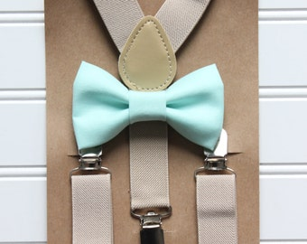 Bowtie and Suspenders Set/Mint Ice Frappe Bowtie/Tan Suspenders/Baby and Toddler Bowties/Birthday and Wedding Sets