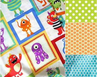 """Shopping cart cover, High Chair Cover, handmade. """"Crazy Monsters"""" print & backing of choice. Multicolour. Grocery cart cover."""
