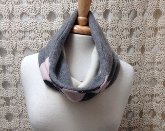 100% Cashmere scarf-Beautiful upcycled-recycled felted grey and pink argyle cashmere cowl neck scarf-made from sweaters