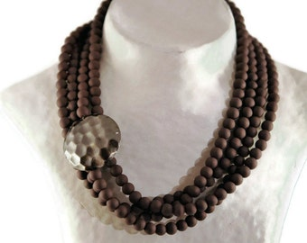 Brown Necklace, Brown Wedding necklace, Statement Brown Chunky Necklace, Multistrand, Bridesmaid Gift, beaded Necklace, gift for her, UDL