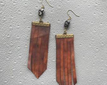 Brown Leather Fringe Earrings