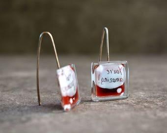 Inspirational jewelry, Word earrings, Geek earrings, Funny earrings, Red fused glass earrings, Sterling silver earrings, Unique jewelry