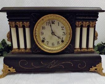 Antique 1909 Wm Gilbert Mantel Clock 8 Day Time Strike w Chime   The Austria Model