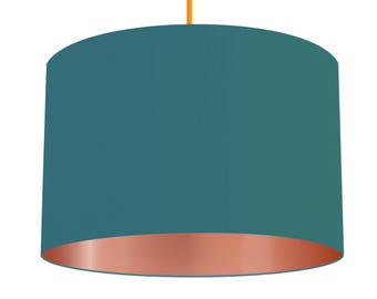Teal Blue Linen Fabric Drum Lampshade With Metallic Copper Effect Lining, Small Lampshade 20cm - Large Lampshade 40cm or Custom Order