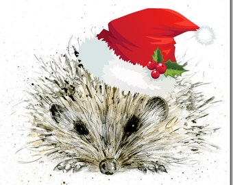 Hedgehog Christmas Card - Bird and Animal Holiday Card, Woodland