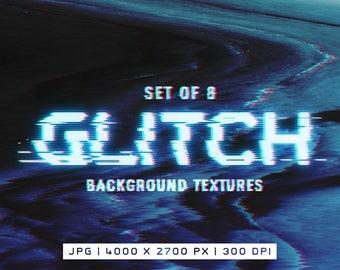 Glitch Background textures - digital textures - Set of 8 digital backgrounds - Abstract textures - Digital JPG resources