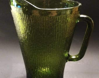 1970s Avocado Green Glass Pitcher (107-2)