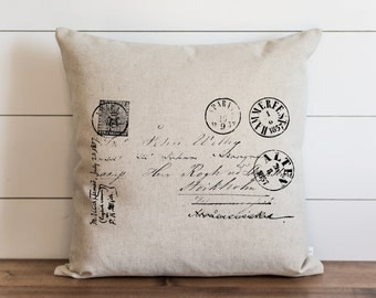 French Postage 20 x 20 Pillow Cover // Everyday // Vintage // Throw Pillow // Gift // Accent Pillow // Cushion Cover