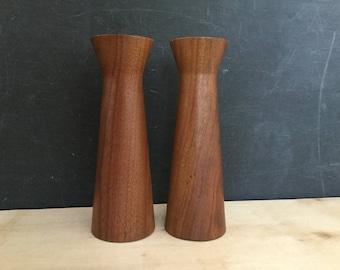 Teak Candleholders, Set of 2, Danish Modern, Mid Century Home, Circa 1950s, 1960s Lighting, Round Candlestick Holders, Wood Candle Holders