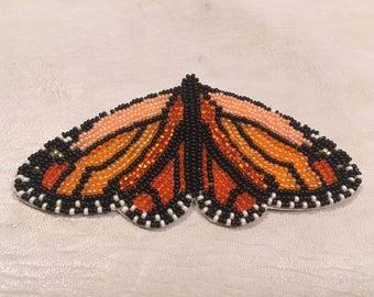 """Beaded """"Monarch At Rest"""" Barrette in light orange (no fringe)"""