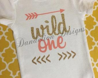First Birthday Wild One Glitter Gold and Coral Bodysuit 1st Birthday Girl Custom