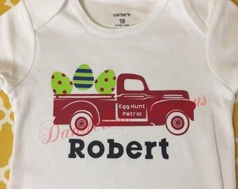 Boy's Easter Shirt Personalized Egg Hunt Patrol Onesie Truck Baby Boy